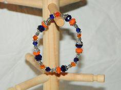 Blue & Orange - NFL Chicago Bears - Swarovski Crystals and Tibetan Silver Dotted Caps Bracelet on Etsy, $10.99