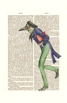 Intellectual Bird  Digital Illustration Giclee Art by FabFunky