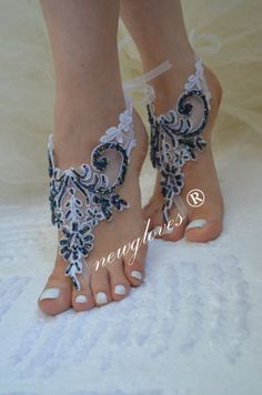 Beach wedding barefoot sandals by newgloves on Etsy Barefoot Wedding, Beach Wedding Sandals, Beach Shoes, Wedding Shoes, Nude Sandals, Bare Foot Sandals, Ankle Jewelry, Crochet Shoes, Bridal Jewelry