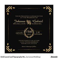 Gold Laurel Leaf Typography Modern Simple Wedding