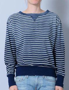 indigo stripe stadium sweatshirt (hellooo, best sweatshirt in the world) Tomboy Fashion, Love Fashion, Fashion Outfits, Fashion Trends, Lady Power, Closet Space, Vintage Tees, Powerful Women, Vintage Industrial