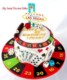 A lady requested a cake with Las Vegas as they wanted to go but it didn't worked out. So instead he got a cake ;) The board was more work then other things Lol xxx Its a chocolate cake.