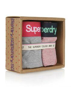 Womens - College Brief Twin Pack in Pink Jaspe & Grey Jaspe | Superdry