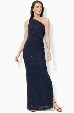 Lauren by Ralph Lauren Dress, One Shoulder Sequin Lace Evening Gown -  Womens Dresses - Macy\u0027s