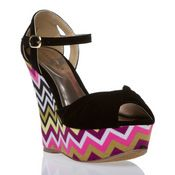 Rosemarie-Velvet and zigzag-printed fabric platform wedge with ankle strap and bow-detail      Loving the zig zag print!!!
