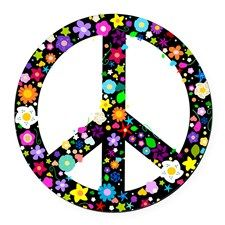 Hippie Flowery Peace Sign Round Car Magnet for