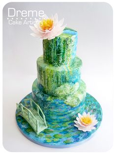 Hand painted fondant cake inspired by Monet's water lily paintings.