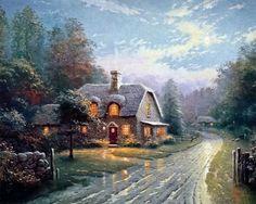 Moonlight Lane ~ Thomas Kinkade