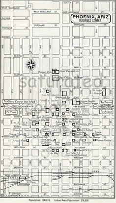Phoenix Arizona Map Phoenix Street Map Phoenix Vintage Map