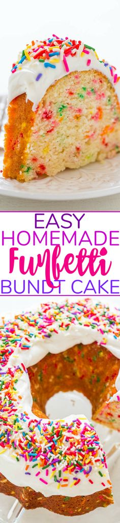EasyEasy Homemade FUNFETTI®-Inspired Bundt Cake Easy Homemade Funfetti Bundt Cake – NO cake mix in this HOMEMADE funfetti cake that's loaded with sprinkles and tastes amazing! Fast, EASY, and the BEST scratch funfetti cake recipe! Best Cake Recipes, Pound Cake Recipes, Cupcake Recipes, Baking Recipes, Cupcake Cakes, Dessert Recipes, Bundt Cakes, Favorite Recipes, Funfetti Kuchen