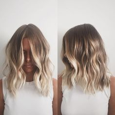 Here's Every Last Bit of Balayage Blonde Hair Color Inspiration You Need. balayage is a freehand painting technique, usually focusing on the top layer of hair, resulting in a more natural and dimensional approach to highlighting. Blonde Balayage Highlights, Hair Color Balayage, Red Highlights, Caramel Highlights, Short Balayage, Bronde Balayage, Blonde Color, Blonde Balayage Bob, Chunky Highlights