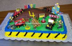 Homemade Construction Site Birthday Cake: I made this Construction Site Birthday Cake for my grandson's 4th birthday.  To come up with the design, I Googled for photos of other construction site
