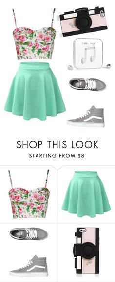 """""""Floral"""" by fishgotwings on Polyvore featuring LE3NO, Vans, Kate Spade and Happy Plugs"""