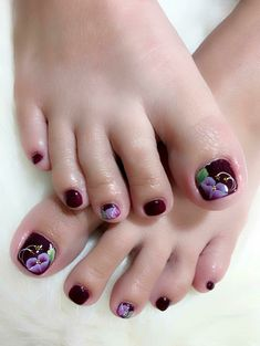 Gel Pedicure Designs Tips 28 Ideas Toe Nail Flower Designs, Toenail Art Designs, Purple Nail Designs, Pedicure Designs, Diy Nail Designs, Nail Polish Designs, Shellac Pedicure, Manicure, Pedicures