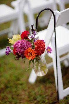 A Country Charming Tennessee Wedding - Rustic Wedding Chic Aisle Flowers, Mason Jar Flowers, Hanging Flowers, Wedding Flowers, Pre Wedding Party, Our Wedding, Dream Wedding, Wedding Things, Wedding Ceremony