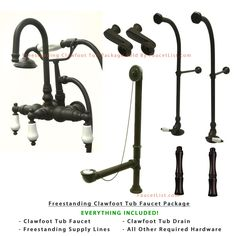 floor mount tub faucet oil rubbed bronze. Freestanding Floor Mount Oil Rubbed Bronze White Porcelain Lever Handle  Clawfoot Tub Filler Faucet with Hand Shower Package 11T5FSP Kingston Brass Waste and Overflow