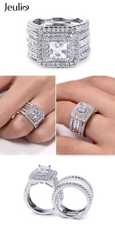 Breathtaking Ring At Jeulia. Take A Look At These Stunning Photos Of Beautiful Rings. We Offer Premium Quality Jewelry At Affordable Price. Unique Rings, Beautiful Rings, Princess Cut Rings, Bridal Rings, Huge Wedding Rings, Bridal Ring Sets, Wedding Set, Gold Wedding, Wedding Ideas