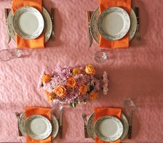 Easter table decoration in pink and orange