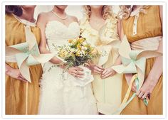 Mustard, iced daiquiri, white, sunshine.  I love the mixed bridesmaids dresses and the pinwheels!