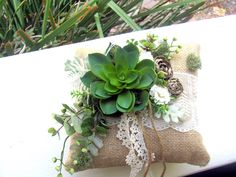 Ring Pillow, burlap lace, succulents ring pillow, organic nature wedding, woodland wedding, country wedding, green leaves moss ring pillow by BelisamaStyle on Etsy https://www.etsy.com/listing/250528363/ring-pillow-burlap-lace-succulents-ring - #danishandmadewedding