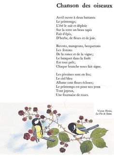 CHANSON DES OISEAUX (Victor Hugo) French Language Lessons, French Lessons, Victor Hugo Poems, Home Poem, Jack Kerouac Quotes, French Poems, French Flashcards, Typewriter Series, John Keats