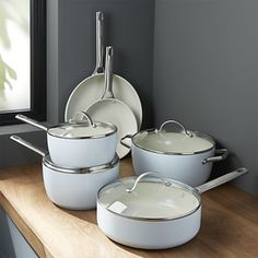 GreenPan ™ Padova Ceramic Nonstick Cookware Set at Crate and Barrel Canada. Discover unique furniture and decor from across the globe to create a look you love. Kitchen Tools, Kitchen Gadgets, Kitchen Decor, Kitchen Appliances, Kitchen Pans, Kitchen Ideas, Kitchen Cabinets, Kitchen Dining, Kitchen Cookware Sets
