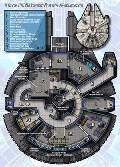 Are you total Star Wars fan? Here are some detailed blueprints of the Millennium Falcon, and it does show Star Wars Film, Rpg Star Wars, Nave Star Wars, Star Wars Ships, Millennium Falcon, Maquette Star Wars, Space Opera, Rpg Map, Star Wars Vehicles