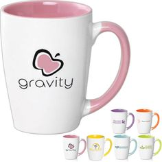 Java two tone ceramic 11.5 oz. mug. Tapered ceramic mug with glossy finish and a comfortable matching grip. Many vibrant trim colors available! Perfect for your favorite coffee or tea! Great for home, work, any events and holiday gifts!