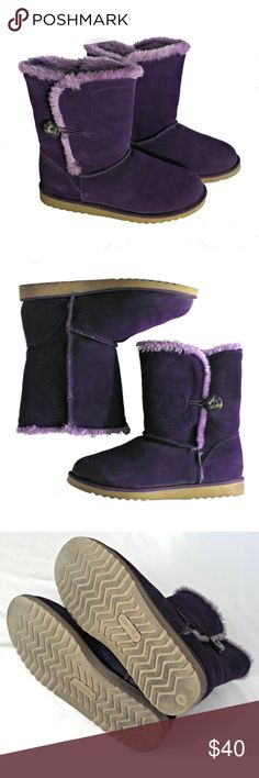 Kalista winer flat boots Real suede upper, lining - faux fur. Color - boysenberry. Pull on construction. Cute buttons help with fit.  Details: runs very TTS, if planning with socks go 1/2 size up. Xhilaration Shoes Winter & Rain Boots