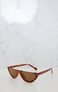 Brown Tortoiseshell Rounded Half Frame Retro SunglassesGet retro vibes girl with these half frame...