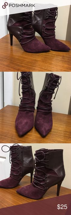 Nine West Lace Up Booties Wine Leather and suede. Nine eat lace up booties with pointy toe. Never worn. No box. Sexy deep wine color. Nine West Shoes Ankle Boots & Booties