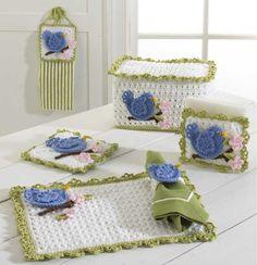 PB012 Bluebird Kitchen Set - http://www.maggiescrochet.com/bluebird-kitchen-set-p-1457.html #crochet #pattern #blue #bird #kitchen #set #home #decor