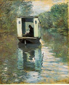 """""""Le bateau atelier"""" by Claude Monet"""
