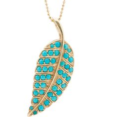 Pre-Owned Jennifer Meyer 18k Yellow Gold and Turquoise Leaf Pendant... ($3,200) ❤ liked on Polyvore featuring jewelry, necklaces, pendant necklace, 14 karat gold necklace, 14k gold pendant, 14k yellow gold necklace and 14k yellow gold pendant