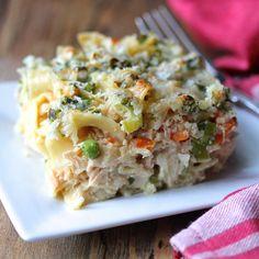 Lightened Up Salmon Noodle Casserole   recipe from Karen's Kitchen Stories