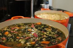 For this soup, I used a chicken stock and then threw in the ham bone. We have the lima beans frozen— I buy them in bulk from the bean man at the farmers market and load the freezer, then clean out the refrigerator — onions, Tuscan kale, cabbage & an oversized sweet potato. http://www.monicastable.com/lima-bean-kale-and-ham-soup/