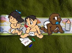 Tóra, Tiago (eu) e Fred - versão bebês