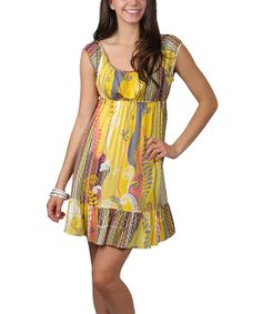 Yellow & Blue Fern Scoop Neck Dress - Women   Daily deals for moms, babies and kids