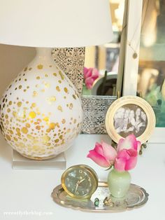DIY gold-dotted lamp base.