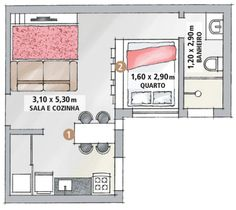 Sala e cozinha, antes isoladas, agora são unidas e limitadas pela mesa de jantar (1). O quarto conquistou privacidade com a estante de nichos abertos (2). O recurso também permite que a claridade vinda da janela do dormitório chegue ao estar, carente de aberturas. Largura x profundidade x altura. / preços pesquisados em 25 de julho de 2012, sujeitos a alteração.