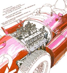 1955 Lancia D50- Freehand Drawing by Peter Hutton :: Illustrator