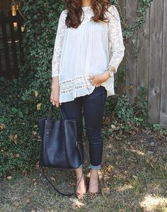 Flowy Cream Top + Navy Tote + Leopard Shoes