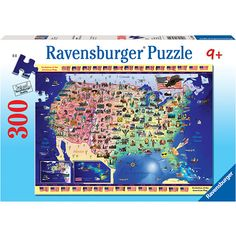 "USA Map 300 Piece Puzzle: This jigsaw puzzle measures 19.25"" x 14.25"" when complete. For ages 9 and up.  $12.99  http://calendars.com/Maps/USA-Map-300-Piece-Puzzle/prod201200010249/?categoryId=cat00371=cat00371#"