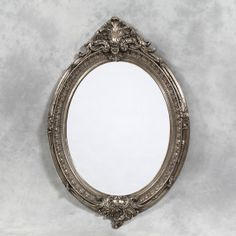 Large Antique Silver Oval Framed 'Charles' Mirror