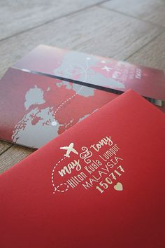 Silver foil stamping wedding logo with travel theme