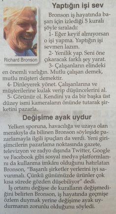 Richard Bronson'dan başarı için tüyolar...