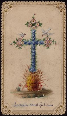 Beautiful cross with flowers and doves.