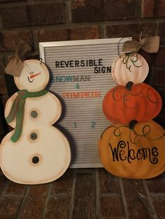 Reversible Snowman/pumpkin door/wall hanger by PrimitivelyFun on Etsy