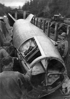 Americans inspect a captured German V2 rocket