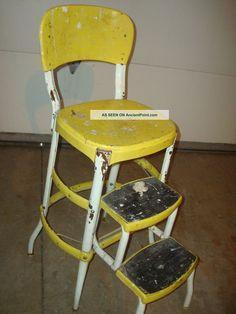 Vintage Retro Yellow Cosco Step Stool Mid - Century Kitchen Steel Footstool Chair Post-1950 photo